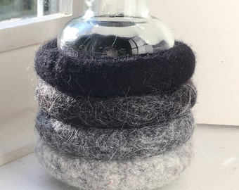 four felted wool bangle bracelets shades of gray to black