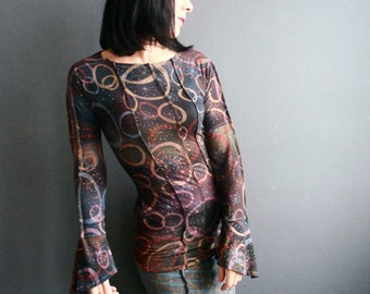 Wearable Art Top - iheartfink Handmade Hand Printed Womens Unique Long Sleeves Outer Space Circles Art Print Black Jersey Top