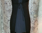 Long Black Crochet Cardigan Sweater Shawl Duster Witchy XS Small