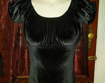 Black Velvet Peasant Top Blouse Small Lolita Gothic Steampunk