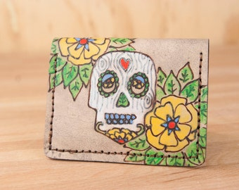 Front Pocket Wallet - Leather Minimalist Wallet in the Walden pattern with sugar skull - Handmade Leather Skull Wallet for men or women