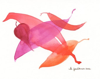 "Watercolor leaves art print: ""Leaf Dance"""