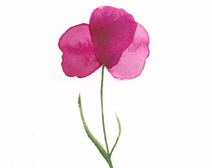 """Original watercolor painting of a magenta flower: """"Rose Petals"""""""