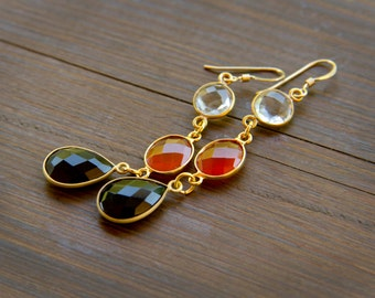 Dramatic and Sparkling Dangle Gemstone Earrings in Gold - Crystal Quartz, Carnelian and Black Onyx