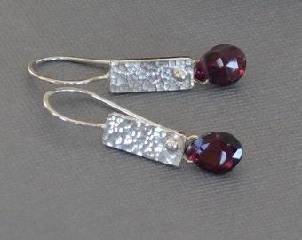 Garnet Earrings, Artisan Garnet Earrings, Textured Silver, Garnet Briolette