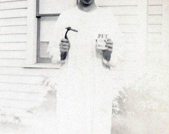 vintage photo 1928 unusual mask face High School Graduation Marvin Hunter Springfield Oregon Pet Milk Costume