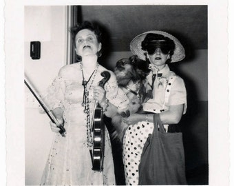 vintage photo 1958 Halloween Costume Cross Dress Mustache Violin Pomeranian Dog Mask Women