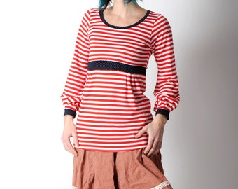 Striped womens sweater, Nautical clothing, Red and white nautical sweater with navy blue details, Long red striped sweater, MALAM