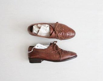 brown leather oxfords / size 6.5 oxfords / woven oxfords