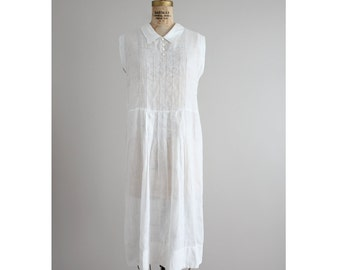 RESERVED ITEM! 1920s white linen dress | art deco dress | vintage 20s dress