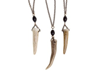 Real Antler Necklace *BULK DISCOUNT* Men jewelry/ Rosary style Y necklace/ oxidized chain/ Tribal pendant/  Organic k8
