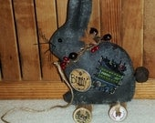 Primitive BLACK Bunny Rabbit PULL TOY Decoration