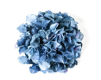 60 Large Hydrangea Petals in Denim Blue - artificial flower - ONE Hydrangea Head - ITEM 0861