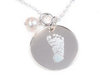 Actual Footprint Necklace with Your Child's Foot Print - Silver - Personalized Foot Print Necklace - Sterling Silver- Footprint Jewelry