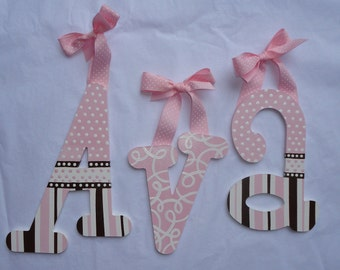 Custom hand painted wooden wall letters - pink and chocolate brown stripes and polkadots