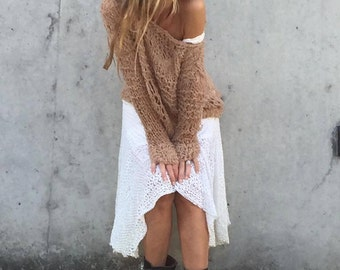Beige sweater, off shoulder, beige camel, boho, loose knit sweater, lightweight, over sized, boho, grunge, Ltd Edition in this shade