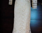 Embroidered lace dress  wedding  champagne cream tiered empire   boho vintage mermaid  romantic xs  small  by vintage opulence on Etsy