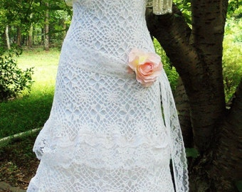 Crochet lace dress wedding white ivory strapless lace tulle tiered boho  vintage  bride outdoor  romantic medium by vintage opulence on Etsy