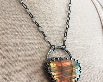 Sterling Silver and Labradorite Necklace