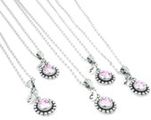 Birthstones Bridesmaids Necklaces, Bridesmaids Jewelry Set, Initial Jewelry, Personalized Bridesmaid Necklace, Bridesmaid Birthstone