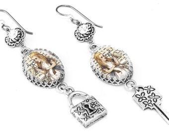 Charm Crystals Earrings, Alice in Wonderland Jewelry,  Image Glass Drop Post Earrings, Alice Earrings