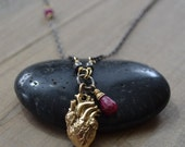 Anatomical Heart with Ruby on Sterling Silver Chain Necklace