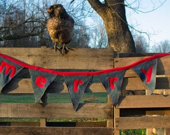 Merry Christmas Bunting from Upcycled Denim