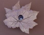Handmade Pottery Ikebana Flower Vase - Rhizomatous Begonia Leaf