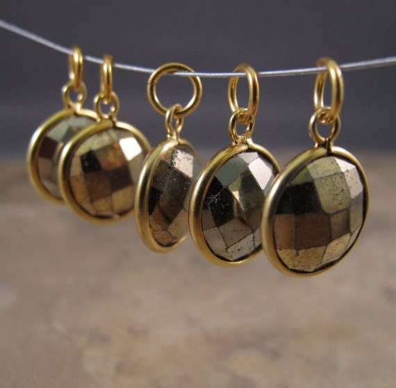 Gold Pyrite Charm, Round Fool's Gold Pendant with Gold Plated Bezel, Faceted Double Sided Gemstone Charm, Jewelry Supplies (C-Ra1)