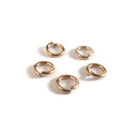 6mm Open Rings, Set of Five Hard Snap 14/20 Gold Filled Jump Rings, 18 Gauge, Jewelry Findings, Connectors, Strong, Small Rings (H-GJH2)