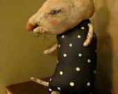 ooak rat art, sandy mastroni, rat art doll ,creepy, original doll,  fabric sculpture,  shelf art