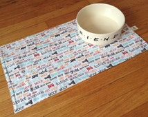 FREE SHIPPING Large Dog Placemat, Absorbent Placemat for Pet, Cotton diamond print, Flannel lining, 21' X 12'