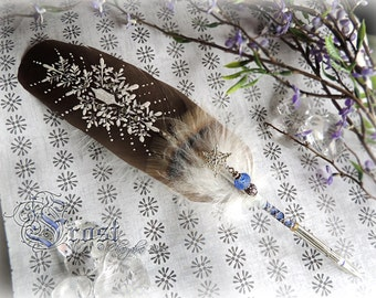 FROST Winter Snow Artisan Feather Quill DIP Pen