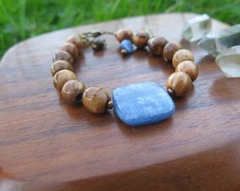 Kyanite & Wood Gemstone Bracelet - Perriwinkle Good Vibes - Energy Crystal Jewelry - Feather Elephant - Earthy Yoga Yogi - Funky Boho Jewels