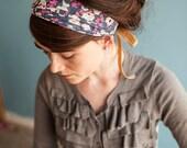 Spring Chiffon Headwrap in Gardenias in Perwinkle | Garlands of Grace Specialty headwrap headcovering veil headband