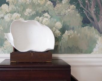 Vintage wood Bowl - cream distressed - vintage re-do