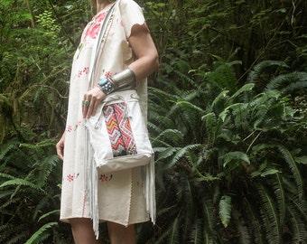 SALE Discounted Bag, Boho Fringe Bag, White Leather Bag, Kilim Bag, Moroccan Bag, Boho Chic Bag, Leather Crossbody Bag, Festival Bag