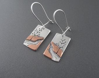 Handmade Mini Hike to Munising Falls Mixed Metal Sterling Silver & Copper Earrings
