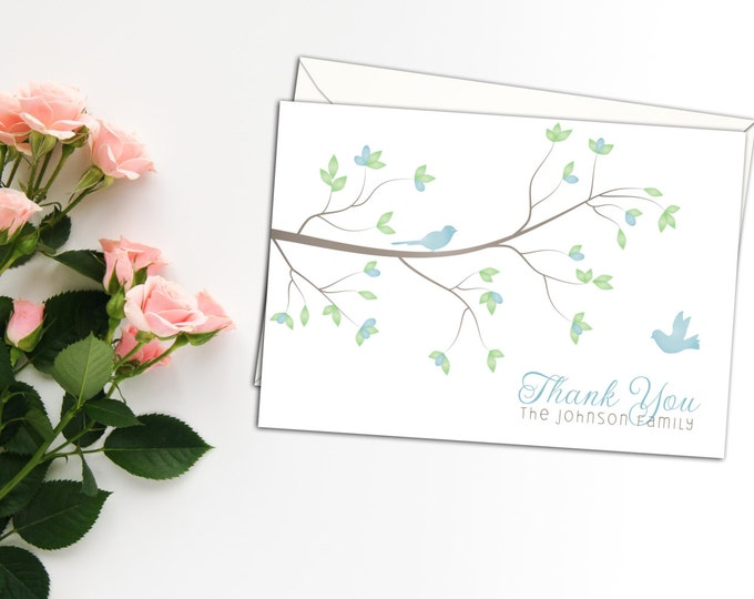 Spring Birds Thank You Cards, Folded Personalized Note Cards, Set of ten Cards, Custom Thank you Cards, Personalized thank you cards