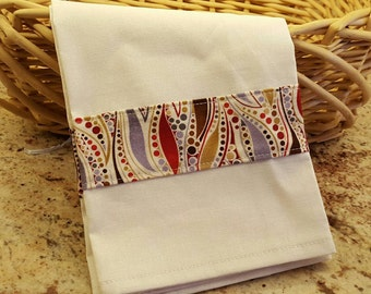 Linen Dish Towel, Kitchen Towel Fabric Border Reds and Browns, Decorative Dish Towel Essex Linen, Home & Living, Kitchen and Dining,Linens