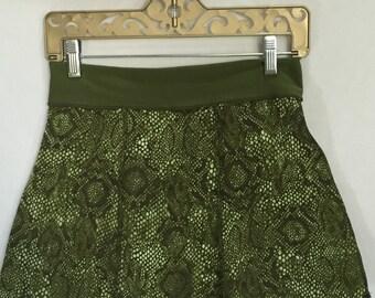 Small Dance Yoga coverup mini skirt - UPCYCLED MINI Skirt- one of a kind, snakeskin skirt, festival clothing, dance, beach coverup