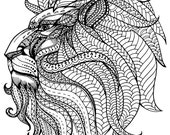 Royal Lion Head Coloring Page, Printable Coloring Pages, Adult Coloring Pages, Hand Drawn, Digital Illustration, INSTANT DOWNLOAD PRINT