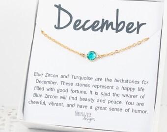 December Birthstone Necklace, December Birthstone Blue Zircon Gold Necklace, Swarovski Gold Necklace, Birthstone Jewelry, Gifts Under 20