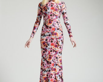 SALE Pink Dia De Los Muertos Long Sleeved Swan Necked Maxi Gown with Train