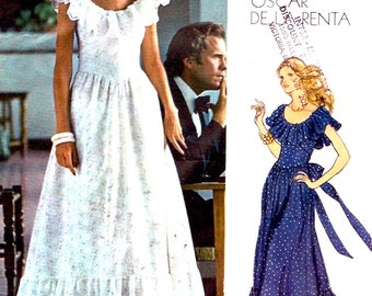 Boho Peasant dress 70s Oscar de la Renta vintage Americana Vogue 1043 sewing pattern Mother of the bride Prairie style Size 12 UNCUT