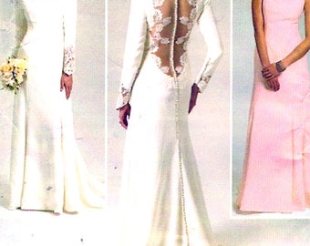 Elegant wedding dress lined dress with back detail Bridesmaid evening wear Brides Sewing pattern Butterick 5779 Size 12 to 20 UNCUT