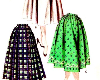 50s Rockabilly skirt Butterick 7866 full skirt vintage sewing pattern Swing dancing  Waist 25 UNCUT