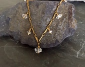 Raw Crystal Stone Necklace, Herkimer Diamond Necklace, Edgy Jewelry, Herkimer Diamond Jewelry, Raw Brass VINTAGE Bar Chain, Dangling Stones