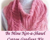 KIT - Be Mine Not-a-Shawl by Deborah Tomasello in your choice of 3-ply or 4-ply Cotton Gradient