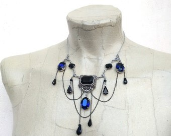 Gothic Necklace Gothic Jewelry Vampire Necklace Black and Blue Swarovski Bib Necklace and Draping Chains Silver Filigree Victorian